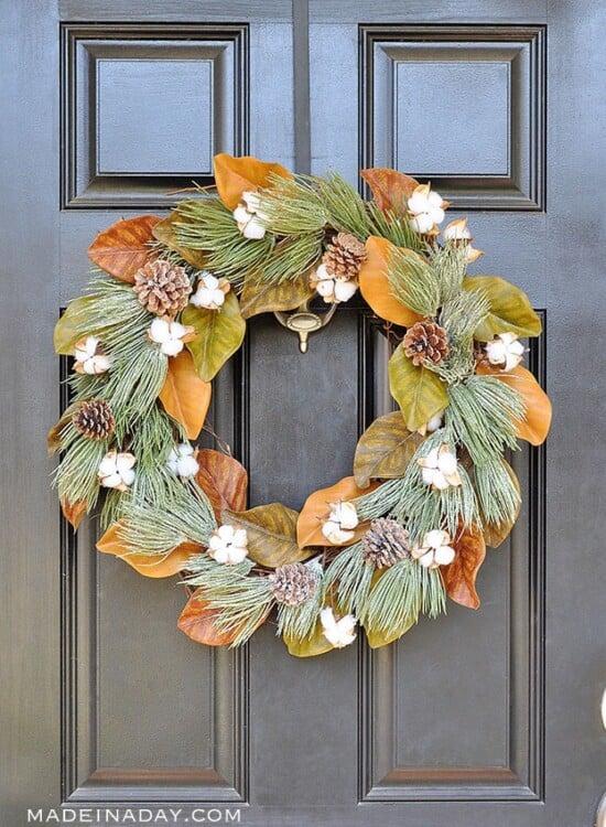Winter Frost Magnolia Cotton Wreath 39