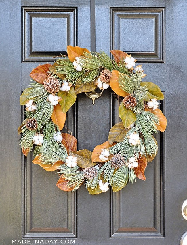 Winter Frost Magnolia Cotton Wreath, Winterize that spring magnolia wreath for the holidays. Magnolia Wreath, Cotton wreath, frosted pinecone wreath, farmhouse wreath