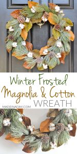 Winter Frost Magnolia Cotton Wreath 1