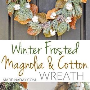 Winter Frost Magnolia Cotton Wreath 1