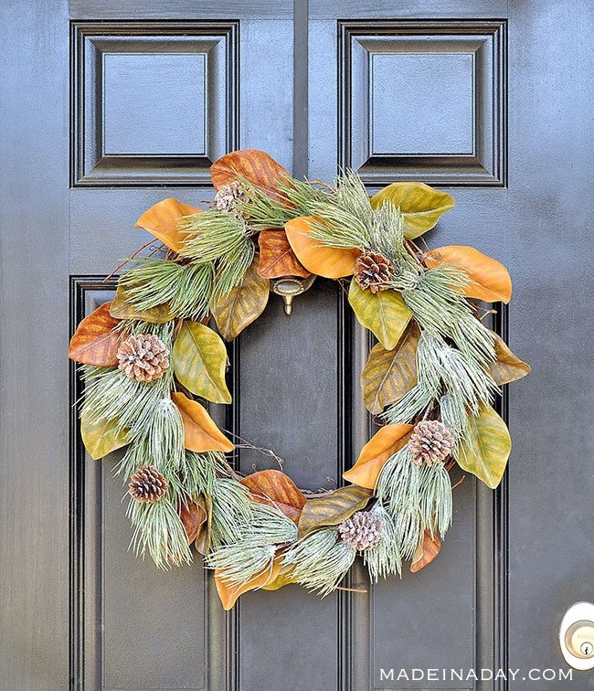 Winter Frost Magnolia Wreath, Winterize that spring magnolia wreath for the holidays. Magnolia Wreath,, frosted pinecone wreath, farmhouse wreath