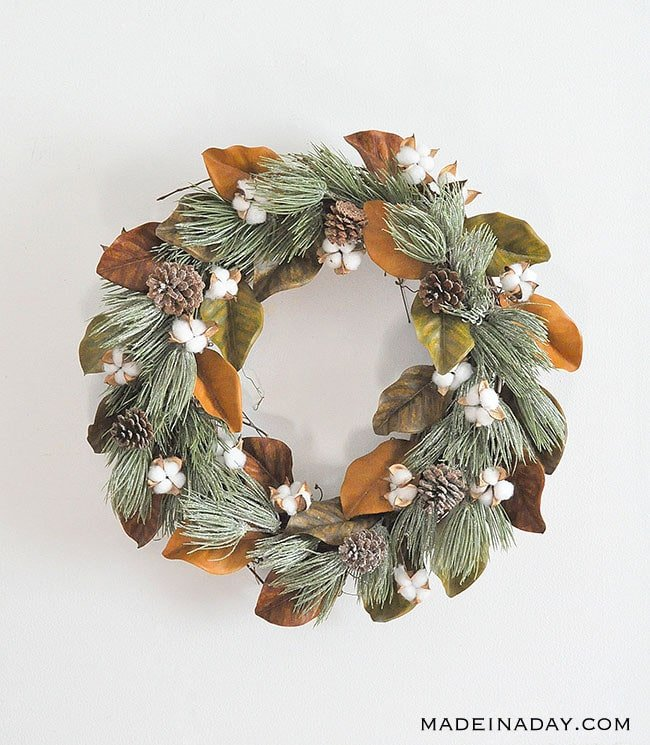 Winter Frost Magnolia Cotton Wreath, Magnolia Wreath, Cotton wreath, farmhouse wreath