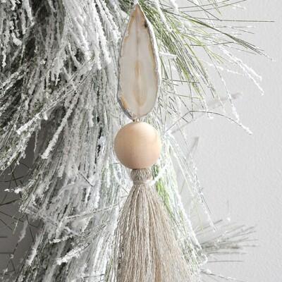 Gilded Agate Slice Tassel Ornament
