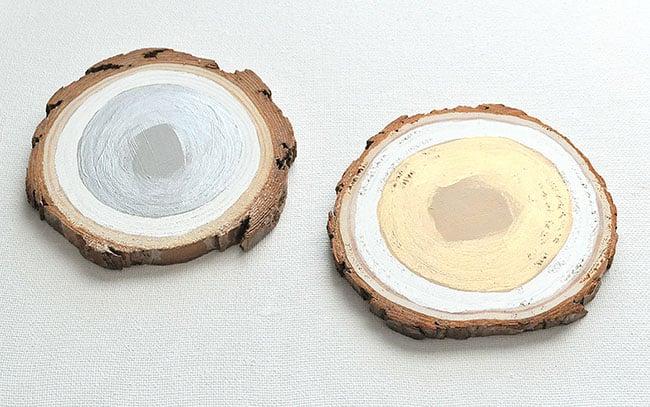 metallic paint on wood slice