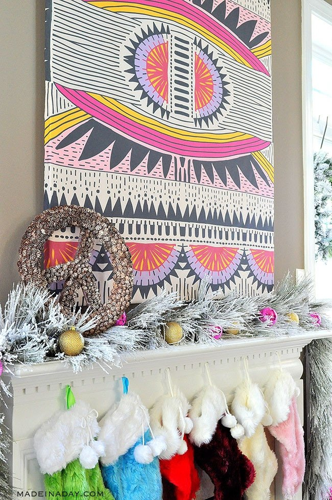 Boho Christmas Mantle Peace Sign