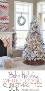 Bright Hot Pink Boho Flocked Christmas Tree this year! 1