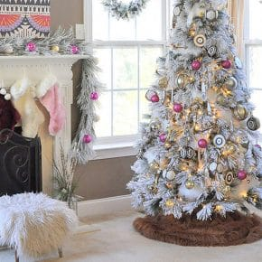 Bright Hot Pink Boho Flocked Christmas Tree this year! 29
