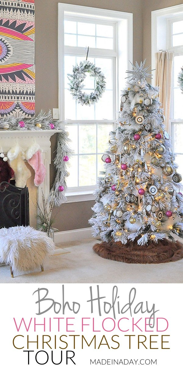 It's a White, Pink, Black and Brown Boho Flocked Christmas Tree this year + a Christmas Tree Blog Hop! Pink ornaments, Feather ornaments, how to decorate a flocked tree, bullseye ornament, #bohemian #Christmastreedecor,