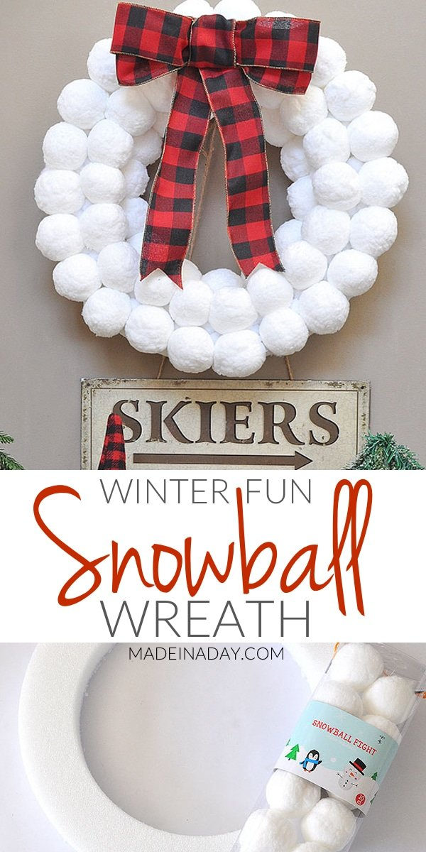 Winter Fun Snowball Wreath, how to make a snowball wreath, #snowball, #winter wreath, #buffaloplaid, Super easy snowball wreath, winter wreath