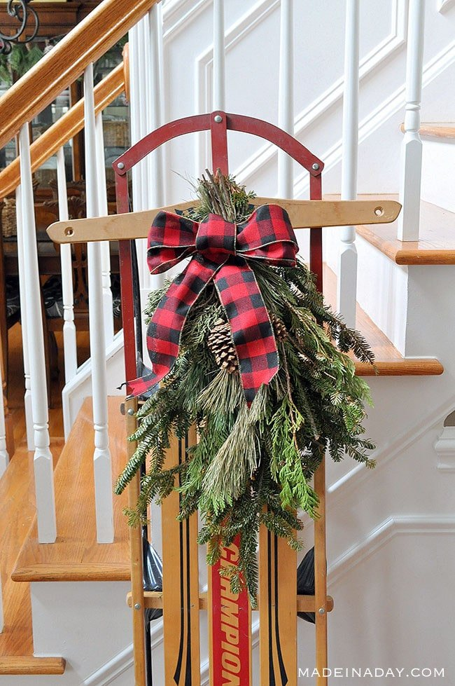 Buffalo plaid holiday sled