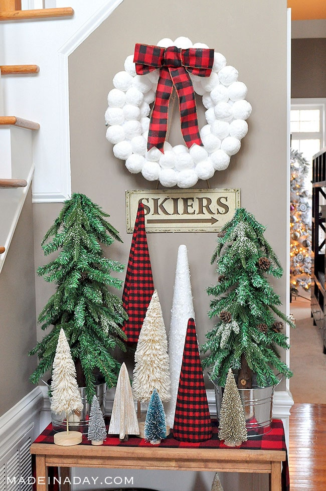 Rustic Tree Forest Entryway Snowball wreath #snowball #buffaloplaid