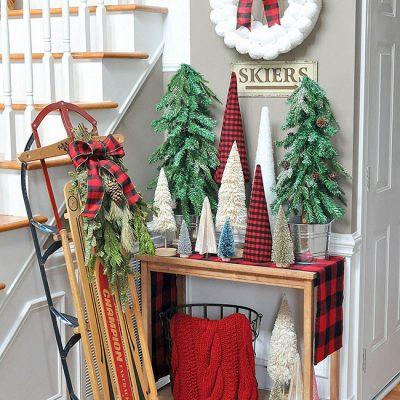 Buffalo Plaid Christmas Forest Entryway