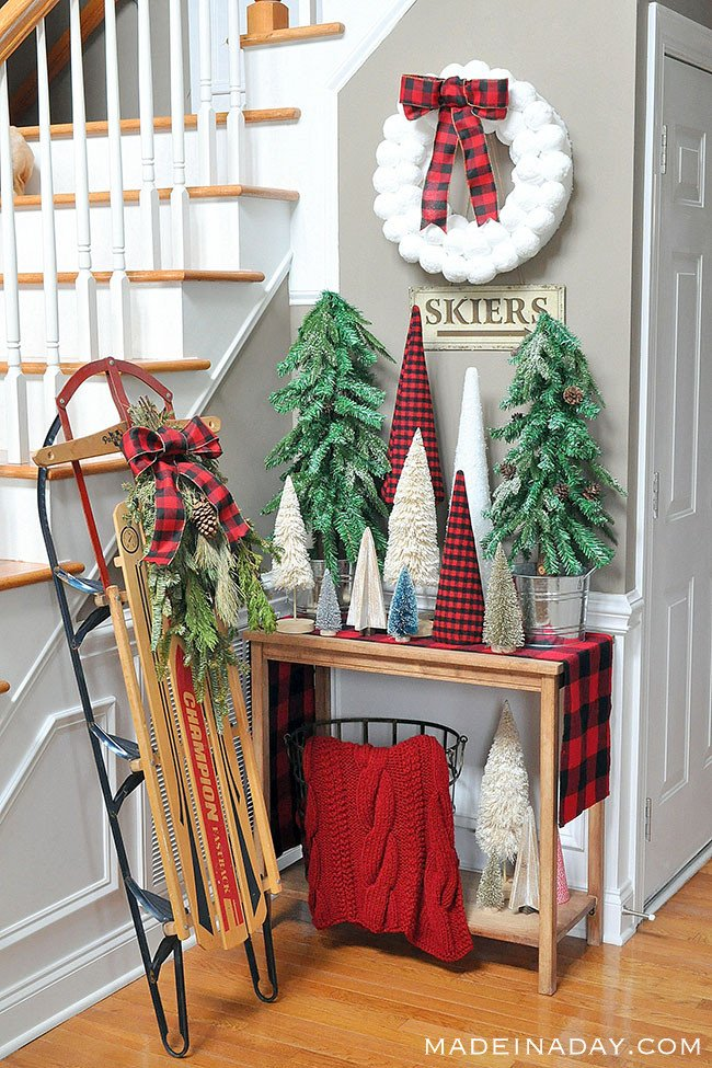 Buffalo Plaid Christmas Forest #Entryway, sisal tree, glitter bottle brush tree, woodland snow trees, vintage sled, #BuffaloPlaid, #holiday cone tree stand tutorial #sponsored