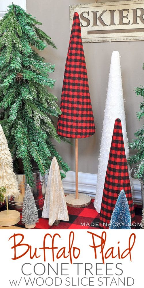 buffalo plaid cone trees, cone tree stand