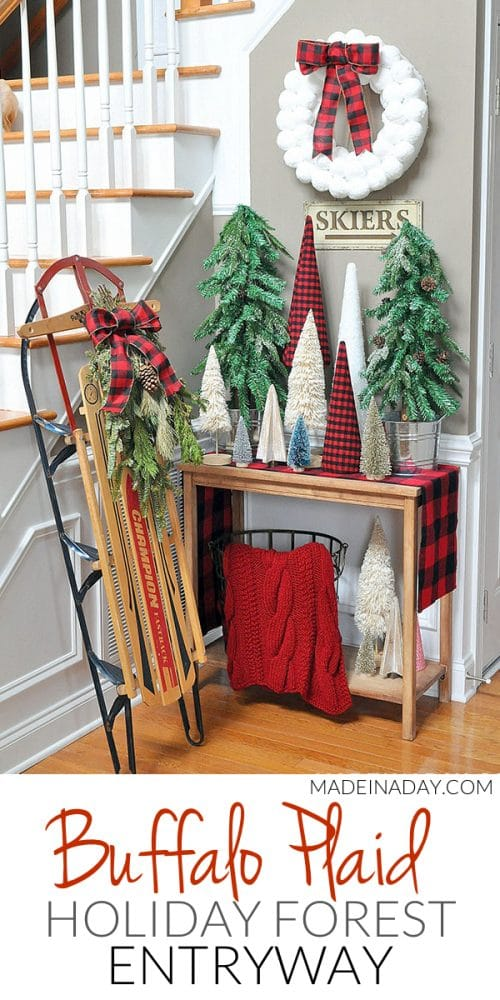 buffalo plaid entryway, buffalo plaid tree forest