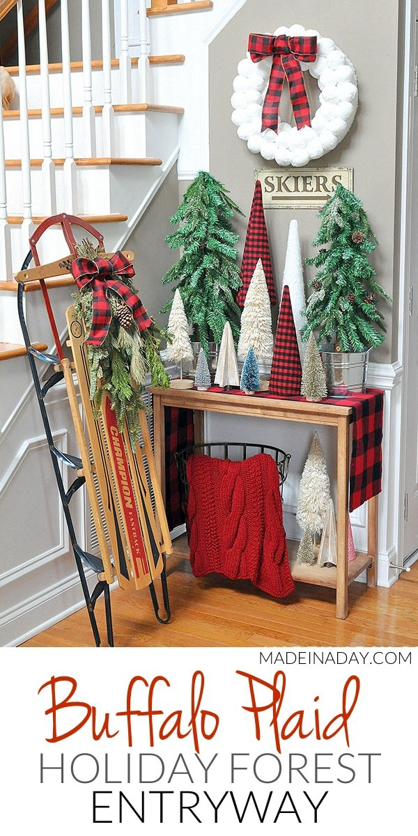 Buffalo Plaid Christmas Forest #Entryway, sisal tree, glitter bottle brush tree, woodland snow trees, vintage sled, #BuffaloPlaid, #holiday entryway, cone tree stand tutorial #sponsored