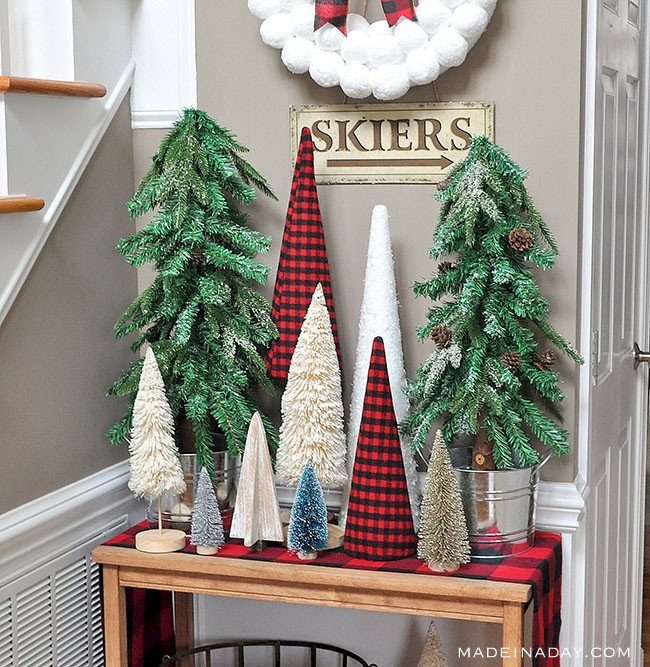 Buffalo plaid tree forest entryway