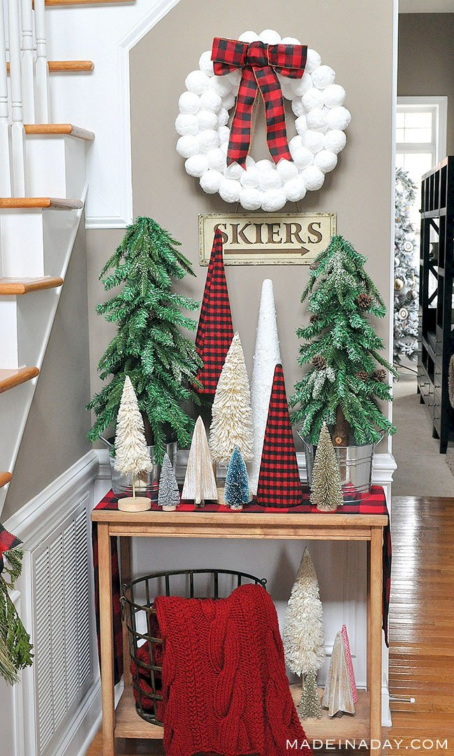 Red black Buffalo plaid entryway