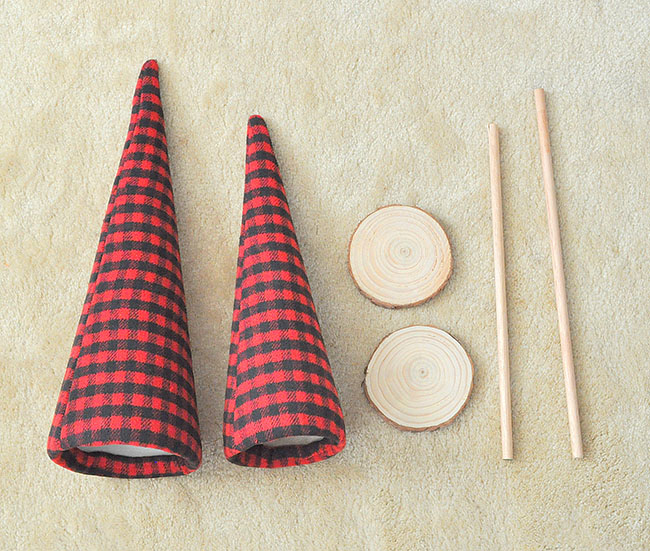 DIY buffalo plaid trees