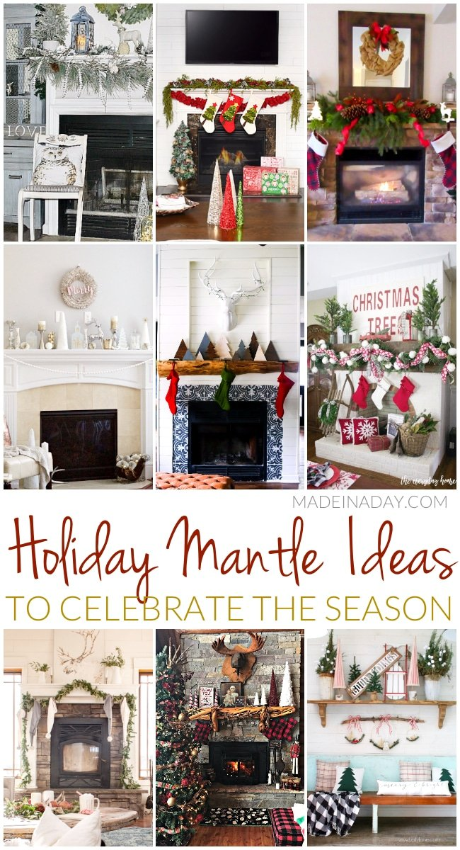From simple modern, rich rustic and lively traditional, Holiday Mantle Ideas to Celebrate the Season, rustic mantle, silver mantle, buffalo check mantle, farmhouse mantle,