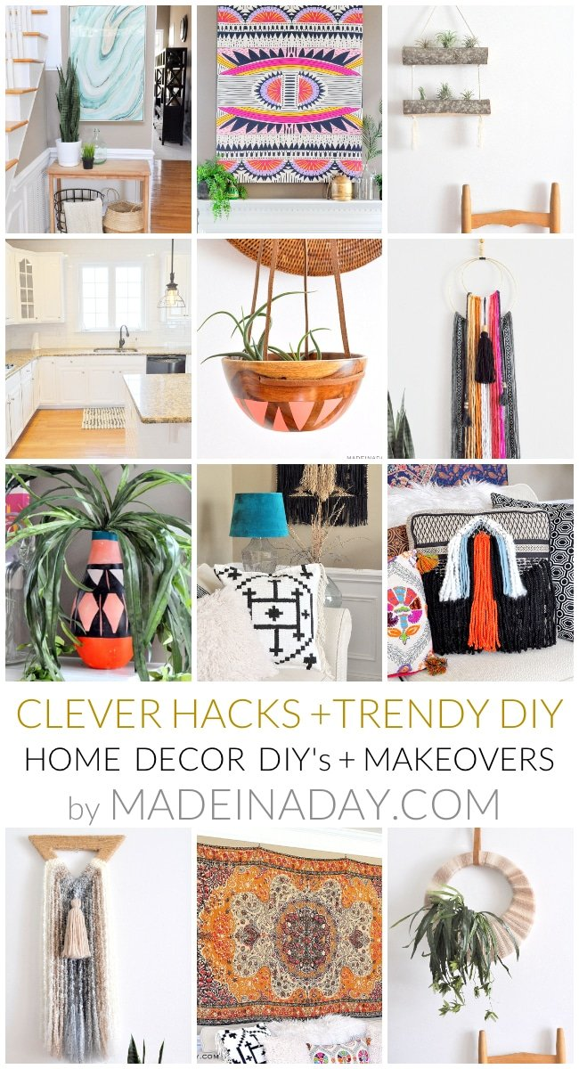 Home Decor DIY's + Makeover Highlights. This week I am sharing a roundup of the highlights of my DIY Home Decor & Makeovers of 2017 from Made in a Day. #boho #tropical #DIY