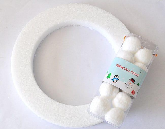 white snowball wreath