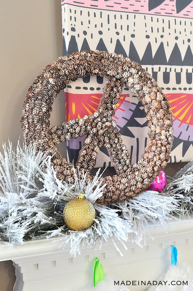 Peace Sign Pinecone Wreath