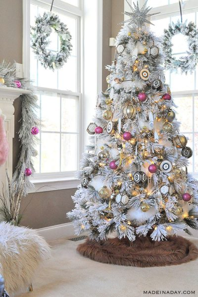 It's a White, Pink, Black and Brown Boho Flocked Christmas Tree this year!