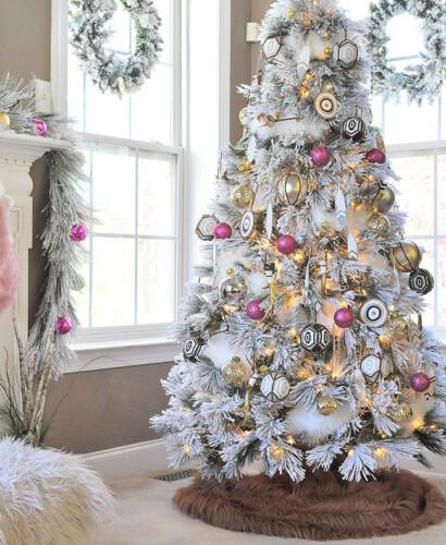 Bright Hot Pink Boho Flocked Christmas Tree this year! 32