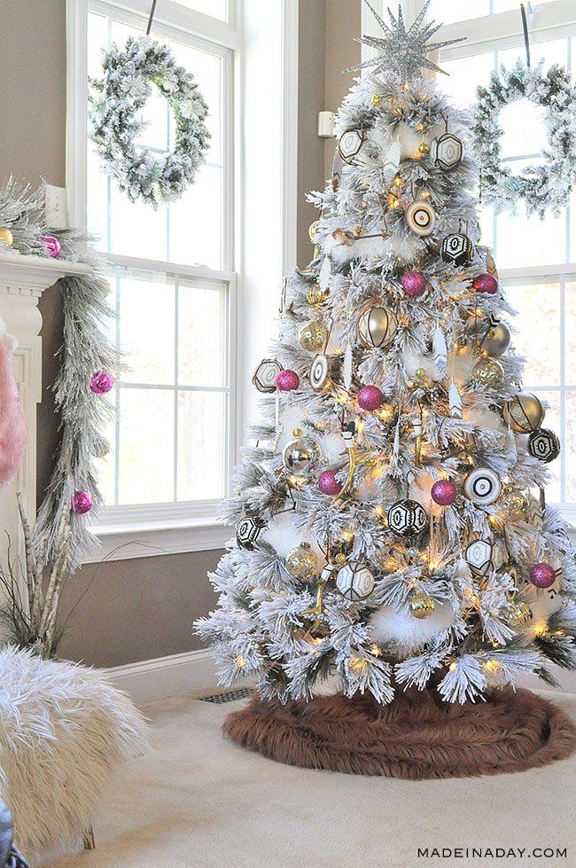 white flocked christmas tree, boho ornaments
