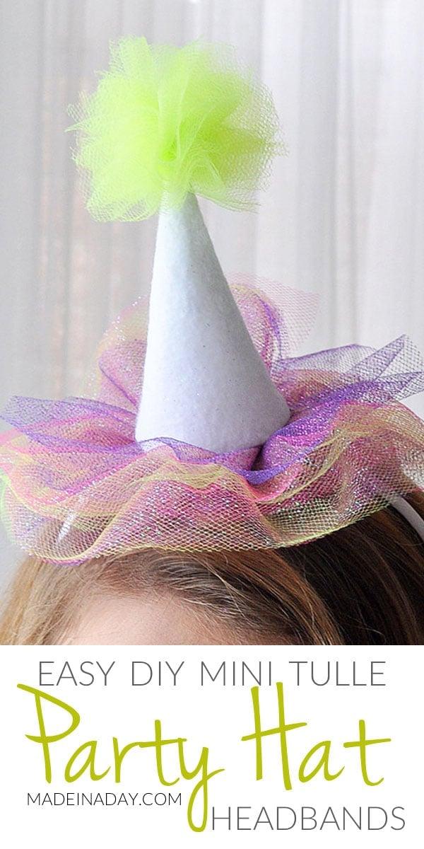 Mini Tulle Party Hat Headbands 16