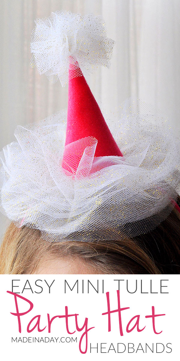 Mini Tulle Party Hat Headbands, clip on party hat, headband hat, tulle hat, Happy Birthday hat, #birthday #hat #headbandhat