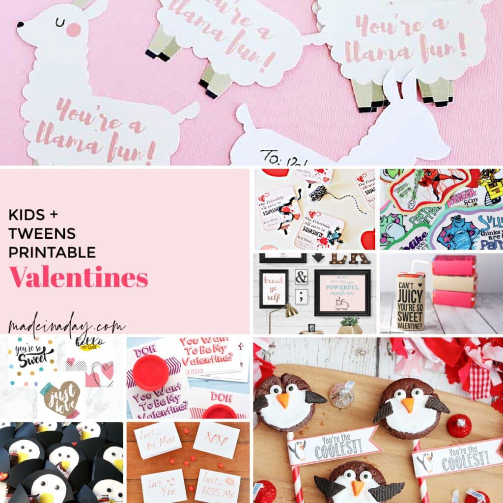 Cute Printable Valentines, kids valentines, classroom valentines