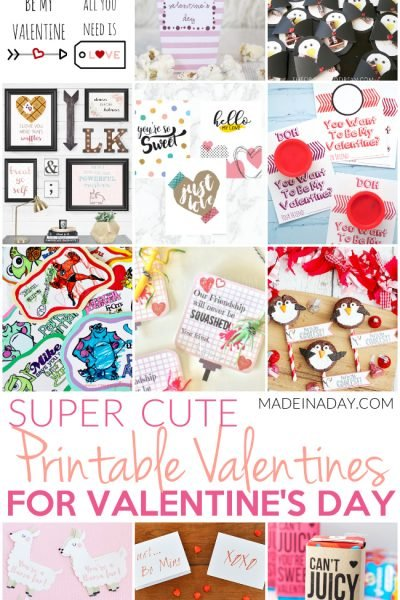 Super Cute Printable Valentines for Valentine's Day
