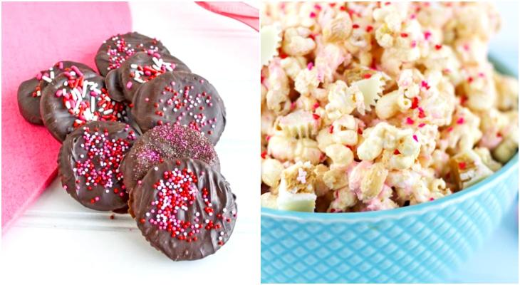 ideas for valentines day treats, diy thin mints, peanut butter popcorn