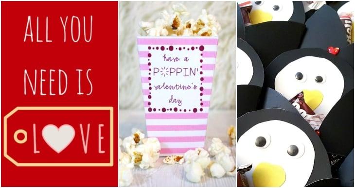 all you need is love valentine, popcorn valentine, penquin valentines