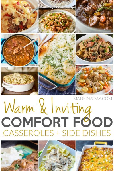 Warm Inviting Comfort Food Casseroles + Side Dishes