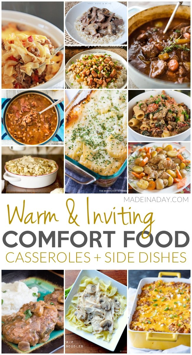Warm & Inviting Comfort Food #Casseroles + Side Dishes, noodle bake, black eye peas, cauliflower mac & cheese, Italian sausage rigatoni, beef tips, Rotisserie chicken and noodles, #instapot, #slowcooker, #Comfortfood