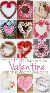 12 Easy to Make Valentine Wreaths + Door Hangers 1