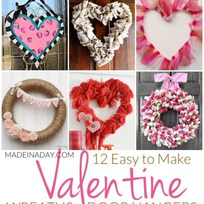 12 Easy to Make Valentine Wreaths + Door Hangers