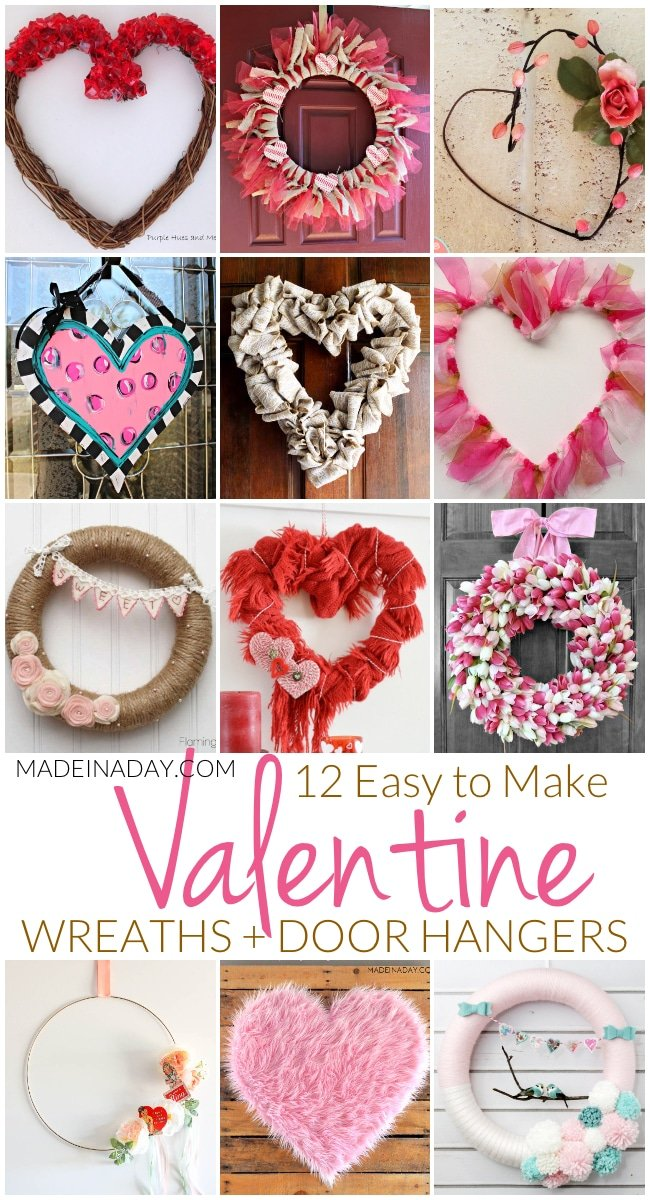 12 Easy to Make Valentine Wreaths + Door Hangers, pink wreaths, Valentines Day wreaths for front door diy, Valentines Day door decorations, Valentines Day door hanger heart, Burlap wreath, tulip wreath, fur wreath, lovebird wreath, hoop wreath. #Valentinesday #wreaths #crafts