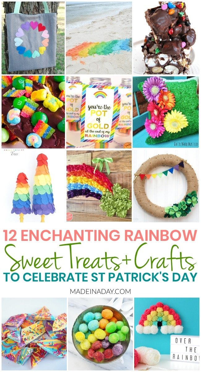 12 Easy Rainbow Treats + Crafts for St Patricks Day, Fun rainbow colored sweet treats and super cute craft projects to decorate for St Patricks Day. Shamrock, rainbow chocolate bark, rainbow trees, rainbow door hanger, rainbow wreath #StPatricksDay #StPattysDay #rainbow #crafts