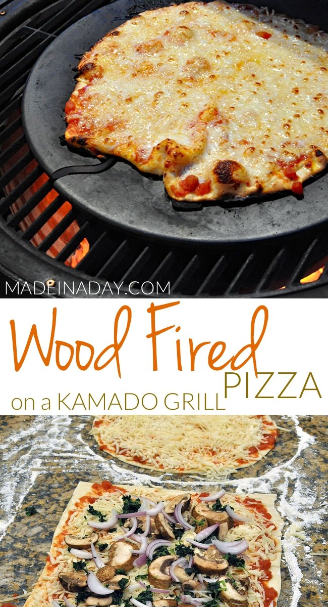 Wood Fired Pizza on a Kamado Grill, brick oven pizza, pizza tips for Acorn grill, #kamado oven pizza, kamado pizza stone, restaurant-style pizza at home. #pizza #grilledpizza