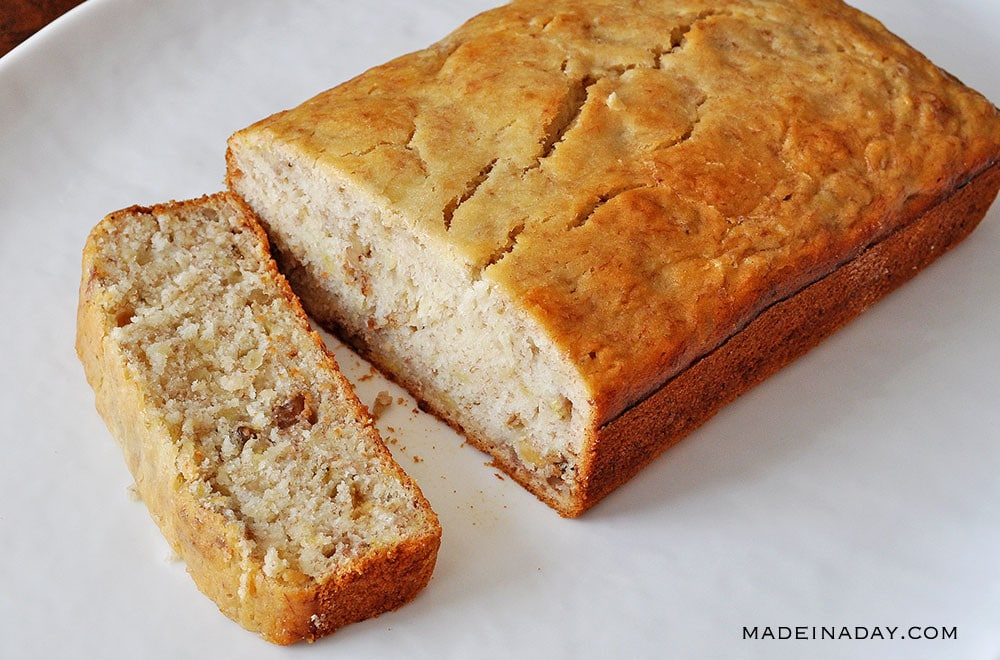 basic banana bread, moist banana nut bread recipe