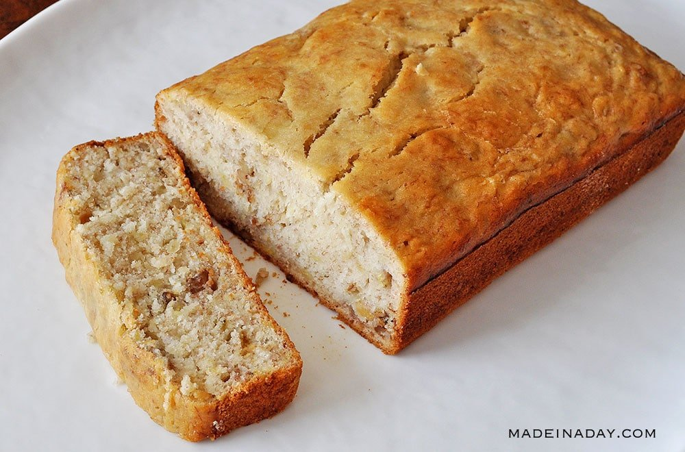 basic banana bread, moist banana nut bread recipe, easy banana bread recipe