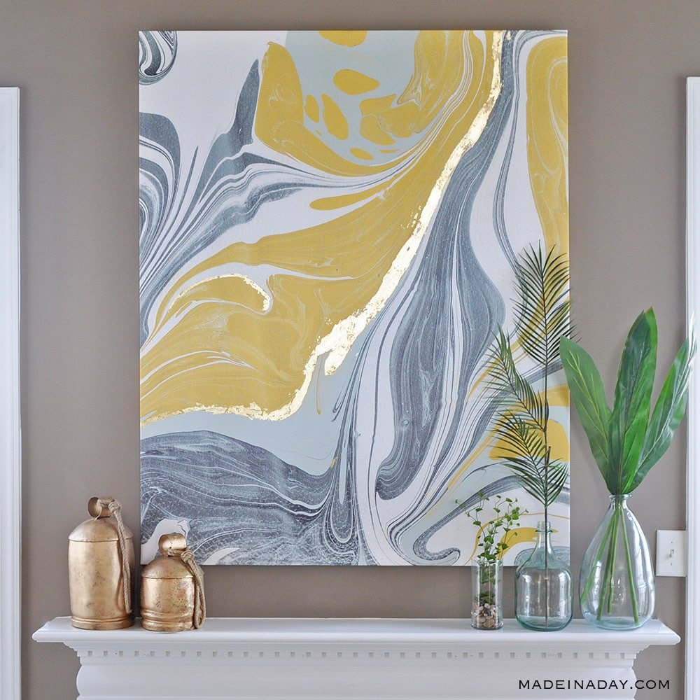 Gold Gilded Marble Canvas: Glam up Your Wall Art • Made in a Day