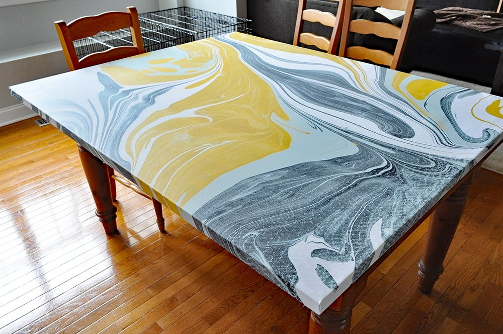 yellow green grey marble canvas