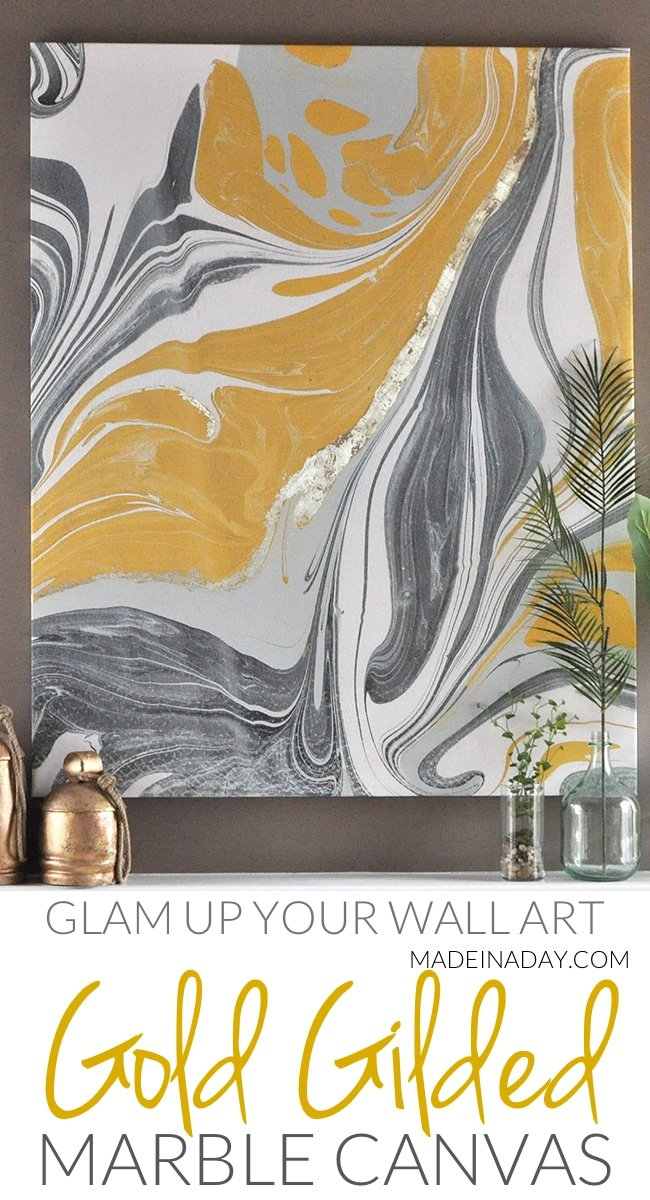 Marble wall art, marble canvas art, gold gilded marble canvas tutorial, how to gild on canvas, gold gilded canvas, marble artwork, large abstract wall art, marble print art, gold canvas art, marble wall hanging #sponsored