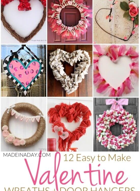 12 Easy to Make Valentine Wreaths + Door Hangers 36