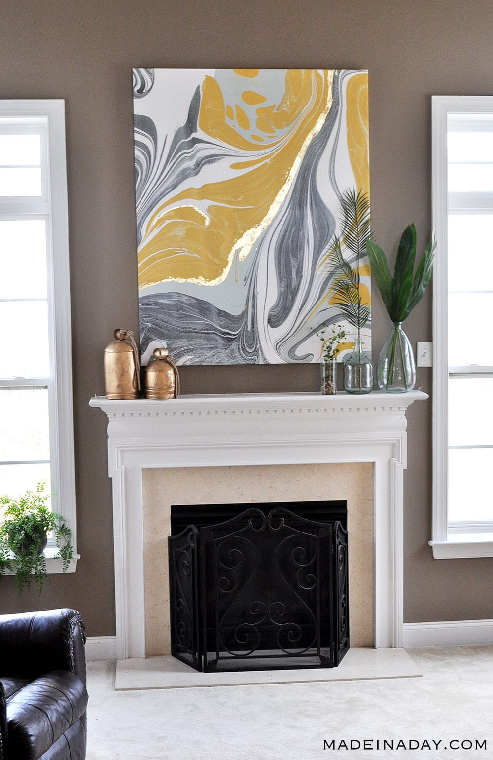 Abstract Marble Wall Art Gold Leaf Canvas